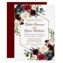Burgundy Marsala Floral Wedding Invitation Card | Zazzle.com Card Invitation, Floral Invitation, Wedding Invitation Cards, Wedding Cards, Wedding Stationery, Invites Wedding, Wedding Envelopes, Marsala, Bridal Shower Cards