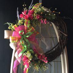 Spring Wreath Summer Wreath Grapevine by angieswreathsandmore
