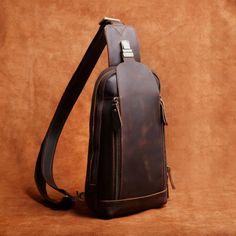 Handmade Leather Mens Cool Chest Bag Sling Bag Crossbody Bag Travel Bag Hiking Bag for men