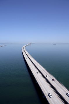 Scenic aerial photo of Sunshine Skyway Bridge, fishing pier, Tampa Bay, Florida. Tampa Florida, Tampa Bay, Florida Keys, Kissimmee Florida, Clearwater Florida, Naples Florida, Florida Travel, Beach Travel, Places To Travel