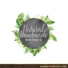 Bohemian Logo Design Circle Logo Leaves Logo Wreath by SacredWilde