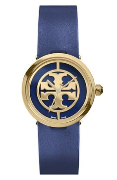 1e6d961c5198 Tory Burch 'Reva' Logo Dial Leather Strap Watch, 28mm available at  #Nordstrom