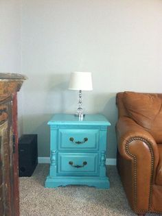 Turquoise blue distressed end tables with brass hardware. Custom refurbished furniture by Kasey Crowe George. https://www.facebook.com/kasey.c.george?fref=ts