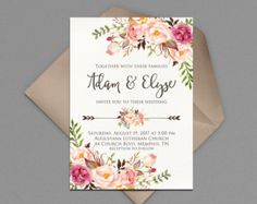 Wedding Invitation Printable Modern Wedding by INVITEDbyAudriana