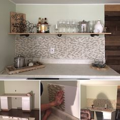 Basement ---Bar. DIY. Process: purchased two lower cabinets and wine fridge to support the countertop. Titled the backsplash using new technology - adhesive mat; it was so much easier! Built a shelve using metal piping and shelving board. Filled bar with booze and viola!