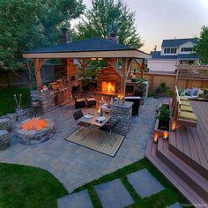 76 Stunning Backyard Patio Ideas Pavers Walkways 23 Backyard Patio Designs, Backyard Landscaping, Backyard Ideas, Back Yard Patio Ideas, Backyard Seating, Modern Backyard, Barbecue Ideas Backyard, Back Deck Ideas, Nice Backyard