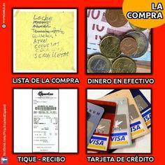 La compra. Imagen: Practicamos Español Teaching Spanish, 1, February, Tents, Restaurants, Spanish Vocabulary, Manners, Cutlery, Learn Spanish