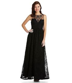 High neck line with sparkle Adrianna Papell Embroidered Tulle Gown #Dillards