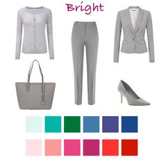 Cardigan // Trousers // Jacket // Bag // Shoes //  Brights can choose black or a dark navy for their neutral but their bright and contrasting colours like cobalt, emerald and hot pink look fabulous with silver grey.  Below I've taken three of the upcoming season's key colours and shownhow they work with the different dominants.