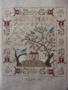 Birds of a Feather, With Thy Needle and Thread chart; cross stitch sampler