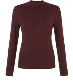Burgundy High Neck Jumper