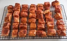 Pork Belly Burnt Ends are so easy to make and the most flavorful and tender smoked meat you could ever want! This is a pork version of burnt ends. Recipe Video how to and recipe! Smoked Meat Recipes, Healthy Grilling Recipes, Traeger Recipes, Venison Recipes, Spinach Recipes, Sausage Recipes, Smoked Beef Brisket, Smoked Pork, Brisket Meat