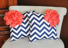 TWO Decorative Pillows Coral Corner Dahlia on Navy and by bedbuggs, $66.00
