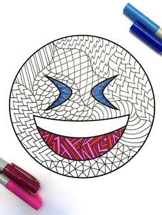 Laugh Emoji  PDF Zentangle Coloring Page