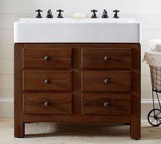 boys vanity mason double sink console rustic mahogany finish potterybarn