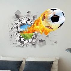 Firing Football Through Wall Stickers for Kids Room Decoration Home Decals Soccer Funs Mural Art Sport Game PVC Poster Boys Wall Stickers, Bedroom Stickers, Removable Wall Stickers, Wall Stickers Home Decor, Wall Stickers Murals, Wall Decals, 3d Wall, Football Stickers, Car Stickers