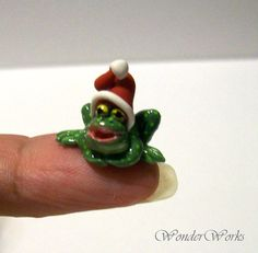 Festive Fat Tiny Toad - OOAK Wee Handmade Sculpted Spotty Green Toad with Red Hat on Etsy, $15.00