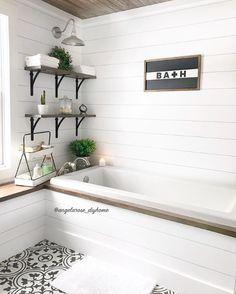 #masterbathroom #bathroom #bathroomremodel #bathroomrenovation #bathroominspo #bathroomdesign #soakingtub #bathroomsofinstagram #bathroomdecor #neutraldecor #woodshelves #bathroomshelves #openshelves #diybathroom #diyhome #shiplap #cementtile #barnlight #woodceiling #whiteandwood #vintagedecor #rusticmodern #bhghome #modernfarmhouse #farmhousestyle #minimaliststyle #simplestyle #fixerupper #homerenovation #hyggehome