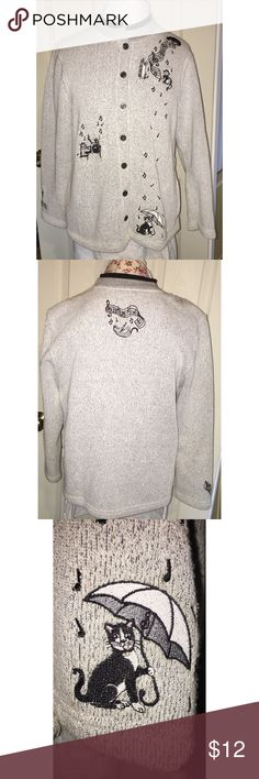 Bon Worth Cats & Music Cardigan Sweater So Cute M This grey knit cardigan sweater from Bon Worth is so adorable. Unfortunately it has two small stains on one shoulder and some obvious pilling.  However if you're willing to take on fixing it up its a great deal. Size petite medium.  See my other listings for the matching tshirt. Bon Worth Sweaters Cardigans