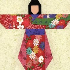 Quilt Patterns Free Quilt Patterns eQuiltPatterns.com: Kimono Girl Quilt Block