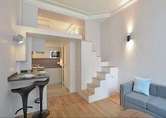 Vivre dans 19m2 semble facile après l'aménagement de l'agence d'architecture intérieure et rénovation Peyrieux. Découvrez cet appartement de Montmartre