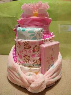 Back view if baby diaper cake