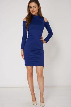 Blue midi cold shoulder dress - product images  of