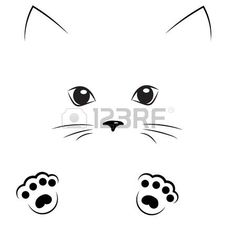 vector black outline drawing a cat face with paws
