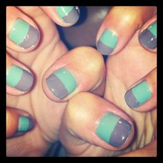 Mint and Gray Color Block Nails Get Nails, Fancy Nails, Love Nails, How To Do Nails, Pretty Nails, Hair And Nails, Color Block Nails, Colour Block, Color Blocking