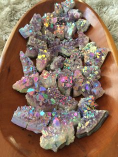 You will receive 3 Rainbow Aura Amethyst clusters ranging from 4cm-9cm Pieces are sold individually at $22