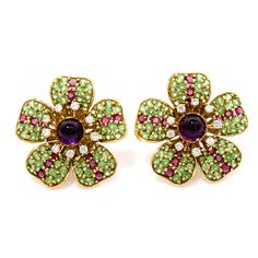 19.60cts Tiffany & Co. Large Floral Tsavorite Diamond 18K Gold Earrings - Dover Jewelry