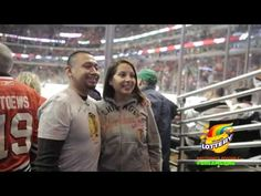 Illinois Lottery fulfilled Sonia and Jamie's #DreamGame experience of visiting the Blackhawks broadcast booth at the United Center.