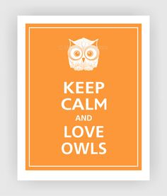 Keep Calm and LOVE OWLS Print 8x10 (Color featured: Papaya--over 700 colors to choose from)
