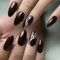 50 Gorgeous Burgundy Nail Color With Designs For Fall Season – Page 48 of 50 – C… - Nageldesign Red Stiletto Nails, Red Acrylic Nails, Red Nails, Glitter Nails, Hair And Nails, Fancy Nails, Pretty Nails, Wine Nails, Burgundy Nails