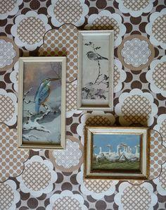 Vintage lijstjes met diverse vogels, waaronder de ijsvogel en ganzen.  De lijstjes zijn in prima vintage conditie.  Vintage frames in good condition.   www.vanoudedingen.nl