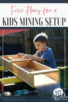 Free plans for a kids mining setup. This easy project lets kids mine their own gems. It's perfect for a backyard birthday party or educational activity! projects beginner projects diy projects for kids projects furniture projects plans projects that sell Wood Projects For Beginners, Woodworking Projects That Sell, Woodworking For Kids, Wood Working For Beginners, Popular Woodworking, Woodworking Jigs, Diy Wood Projects, Easy Projects, Woodworking Furniture