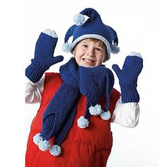 This hat, mittens, and scarf set with a wacky jester style keeps things fun all winter long. (Bernat.com)