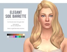 Elegant Side Barrette HairI'm thrilled to finally share this hair with you all! I posted a work-in-progress shot weeks ago and then ran into some difficulties with it. Now it's all ready to go :) (thank you @teanmoon for all the help!) The details: •...