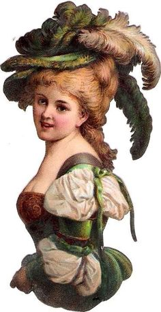 Oblaten Glanzbild scrap die cut  chromo Dame Lady femme Feder Hut  feather hat