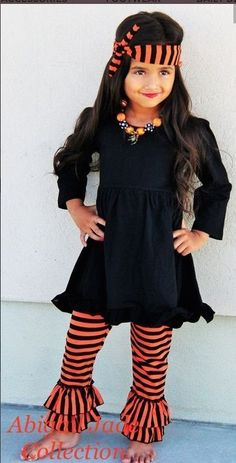 01ca6e4556ee2 Boutique Hadley Halloween Stripped Infant Toddler Outfit Abigail Jade  Collection  Boutique  DressyEverydayHoliday Girls Fall