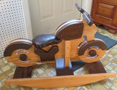 ROCKING MOTORCYCLE Amish Handmade Solid Oak Children's Bike Rocker Cycle with Faux Leather Seat Made in USA