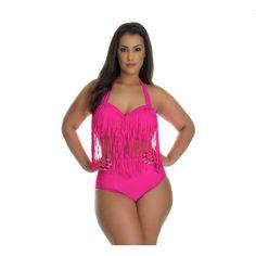 Womens Plus Size Fringe Bikini: Large/Hot ($17) ❤ liked on Polyvore featuring swimwear, bikinis, pink, bikini two piece, bikini swimwear, plus size swimwear, fringe swimwear and beach swimwear