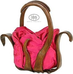 unique handbag handmade of wood and silk