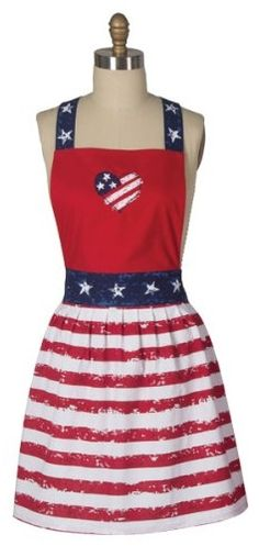 Old Glory Girly Retro Hostess Apron ... #Fourth of July #holiday
