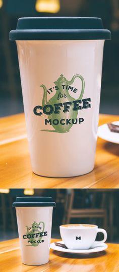 Realistic PSD Mockup of Coffee Cup Logo Design   Freebies PSD