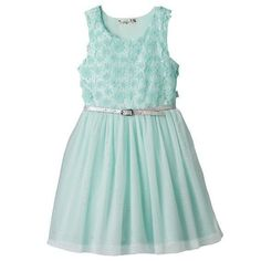 NWT Girl KNITWORKS Floral Lace Belted Mesh Tulle Skater Dress Mint Size 2T 3T 4T