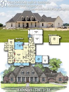 Our client in Louisiana built House Plan This Architectural Designs Home Plan gives you 5 bedrooms, 3 baths and sq. Where do YOU want to build? Acadian House Plans, Southern House Plans, Southern Homes, Southern Living, Acadian Style Homes, Dream House Plans, House Floor Plans, The Plan, How To Plan