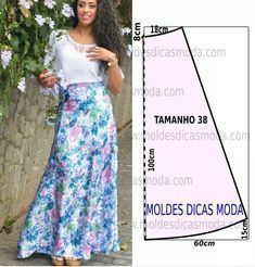 Saia longa feminina molde e costura passo a passo, ler mais... http://moldesdicasmoda.com/saia-longa-feminina/ #moldesdicasmoda #moda #patternmaking #patrones #saias #colors #tecidos #casual #casualfashion #womanfashion #woman #stylefashion #style #fashionwoman #fashionstyle #fashion #automne #winter #fresh #costure