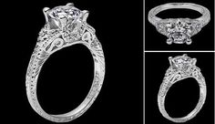 Tacori vintage engagement ring: imagine this with a princess cut in the center!