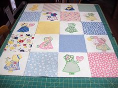 Sun Bonnet Sue Baby Quilt Embroidery Project by Pat Williams Embroidered Quilts, Applique Quilts, Baby Applique, Vintage Sheets, Vintage Quilts, Shirt Quilt, Quilt Top, Girls Quilts, Baby Quilts